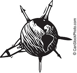 Missile Earth - Woodcut style image of missiles sticking out...