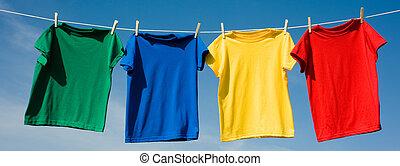 primario, coloreado, camisetas