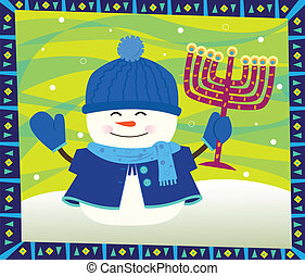 Snowman and Menorah - Cute snowman is holding a menorah and...