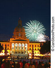 fireworks in Edmonton,Alberta - Fireworks explode over the...