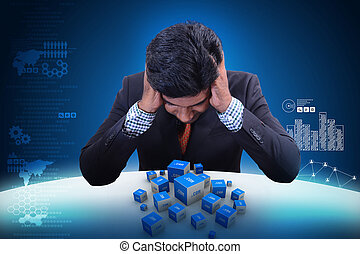 Business man with dot com domain in cubes