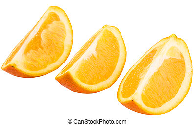 Orange Fruit Slices - Slices of orange fruit over white...