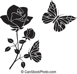 roses with butterflies black vector - Is a EPS Illustrator...