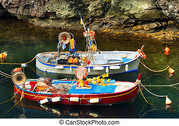 Fishing Boats in the Harbor - Liguria Italy - Two small...