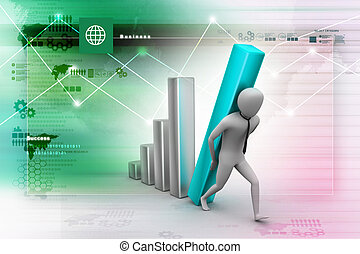 3d businessman carrying  the big column of the diagram