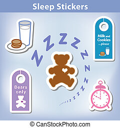 Sleep Stickers: Teddy bear with a big heart, milk, cookies,...