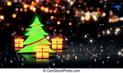 Christmas Tree Gift 3D Shine City Bokeh Background