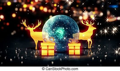 Blue Crystal Bauble Gold Christmas Deer Gift 3D bokeh...