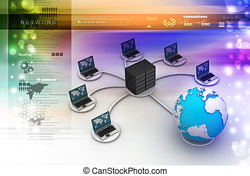 laptop with big server Net Work firewall 3D Image