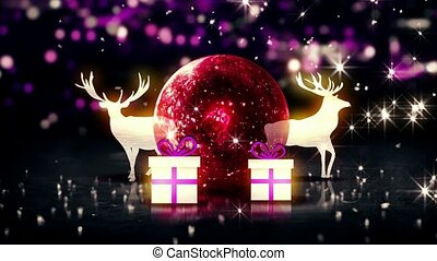 Red Crystal Bauble Christmas Deer Gift 3D bokeh background...