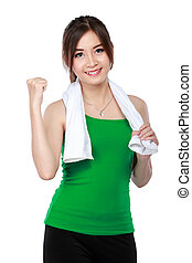 Smiling happy fitness woman - Smiling happy attractive...