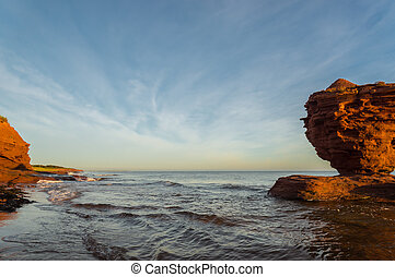 Red sandstone rocks at high tide (Green Gables Shore, Prince...