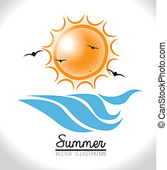 Summer design over white background, vector illustration