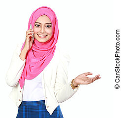 asian woman with scarf presenting while calling to cell...