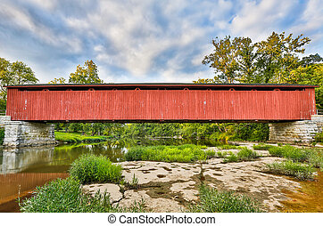 Cataract Covered Bridge Over Mill Creek - The Cataract Falls...