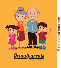 Grand parents design over yellow background, vector...