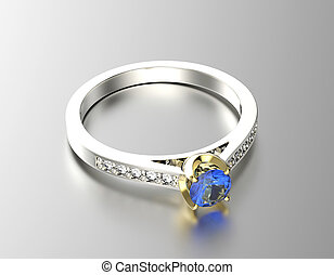 Golden Engagement Ring with Sapphire