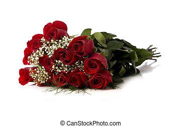 玫瑰, 白色, 紅色