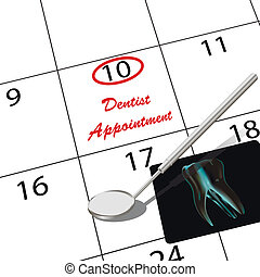 Appointment to the dentist in the calendar
