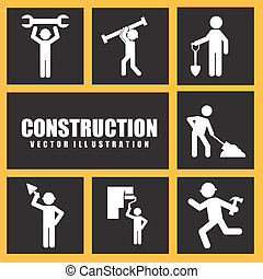 under construction design over yellow background vector...