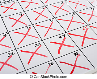 X-d out Calendar - A calendar with every date x-d out or...