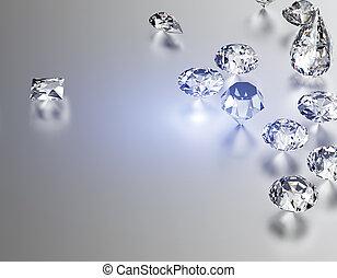 Background of different shape jewelry gemstone. Diamond