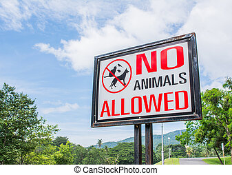 no pets allowed sign  in the park