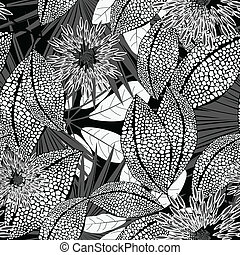 Tropical black and white spotted flowers in a seamless pattern