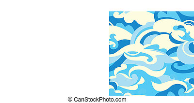Graphic tropical surf waves in a seamless pattern