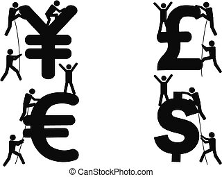 stick figures Climbing Money sign - isolated stick figures...