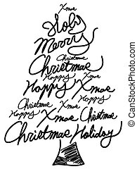 doodle Christmas tree word clouds - isolated doodle...