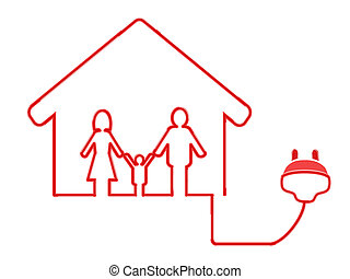 electrical plug symbol with family - the symbol of family...