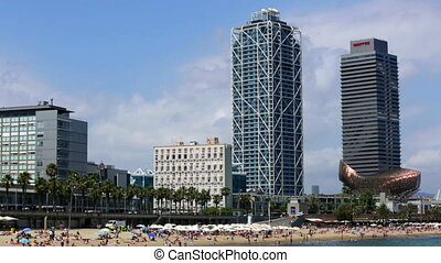 Beach of Barcelona - BARCELONA, SPAIN - JULY 15, 2014: Beach...