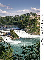 Rhinefall, Waterfall, Switzerland - Overview of the...