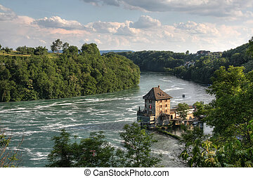 Castle Woerth at the Rhinefall - Castle, a customs house in...
