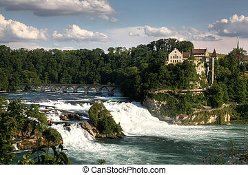 Rhinefall, Switzerland - Overview of the Rhinefall, the...