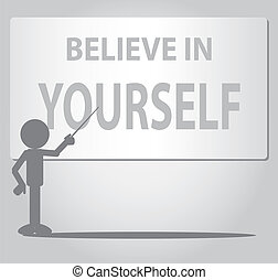 Flat Man Self Confidence Concept - Flat Man pointing believe...