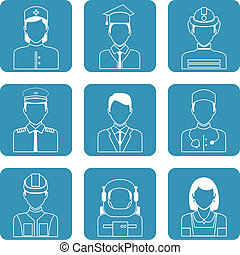 Professional avatar icons set - Avatar professions outline...