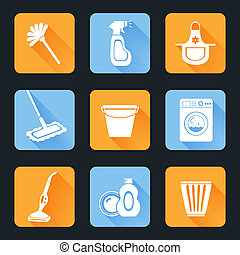 Cleaning Icon Set - Cleaning washing housework equipment...