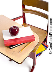 Vintage School Desk with Apple