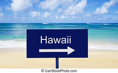 "Sign ""Hawaii"" on a beach by the water in sunny day"