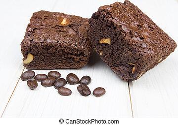 brownie on wood background
