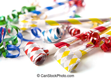 Party Noise Makers on White - A group of party items,...