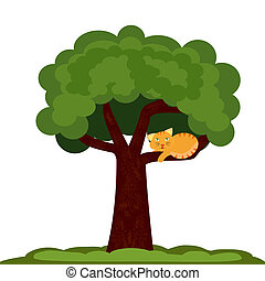 A Cat on a tree - Illustration of a cat sitting on a tree