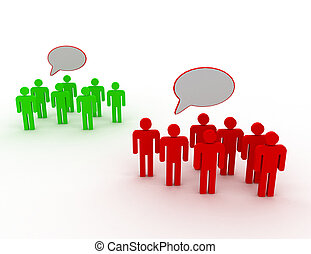 3d people belonging to different group having different opinion