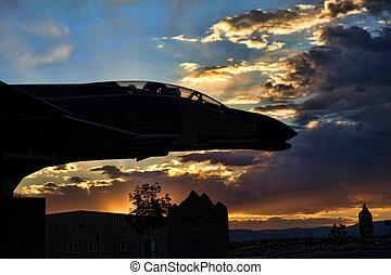 Phantom at Sunset - Phantom f-14 at sunset against the...
