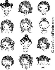 Set of cute girl characters, cartoon for your design, vector...
