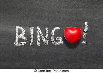 bingo word handwritten on chalkboard with heart symbol...