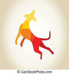Abstract dog - Dog in a jump A vector illustration