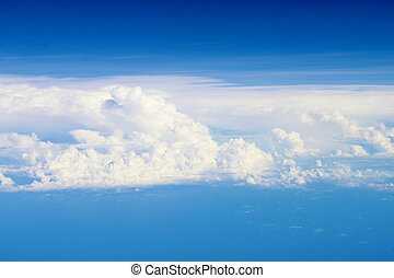 Cloud scape - Blue sky with big fluffy clouds